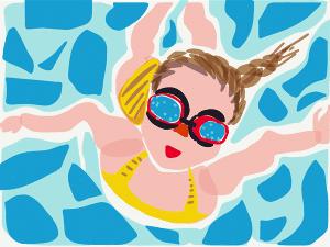 Zeichnung eines Kindes mit Taucherbrille im Wasser