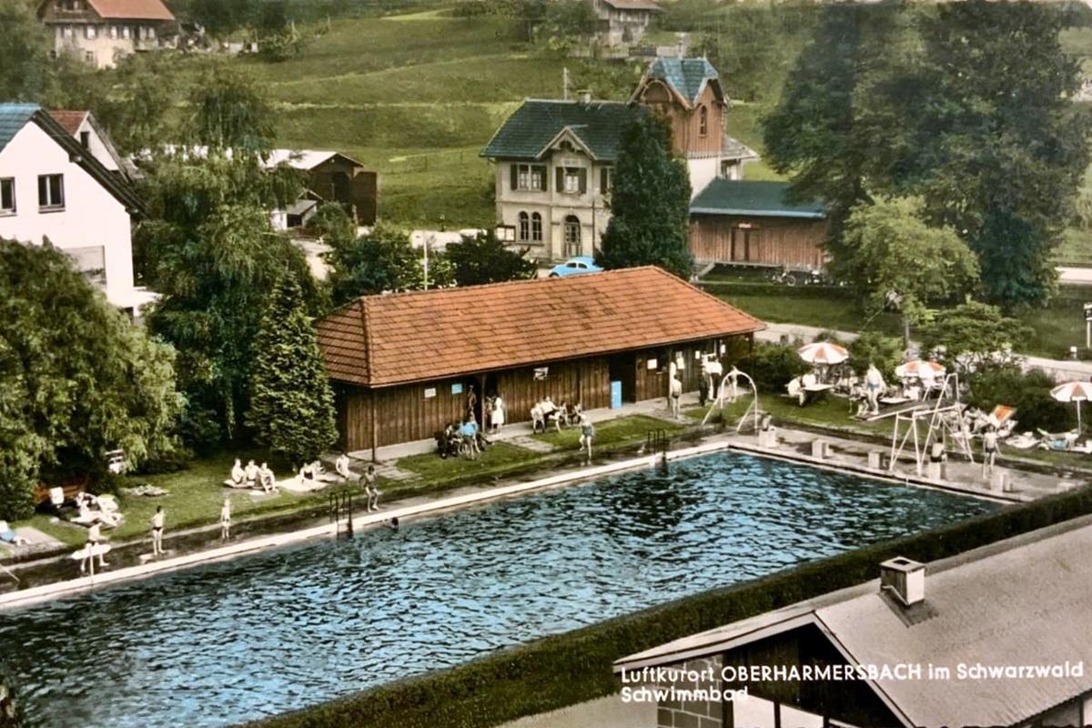 Alte Ansichtskarte Schwimmbad 1966